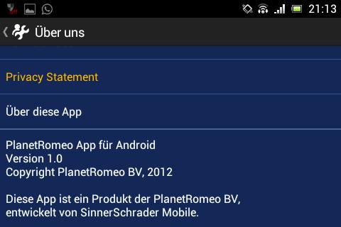 Das Impressum der Android-App deutet auf eine offizielle PlanetRomeo-App hin