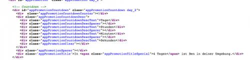 Ausschnitt aus dem Quellcode