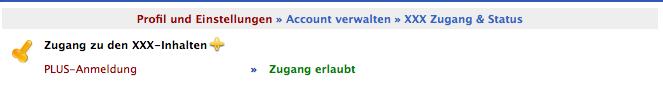 Screenshot aus der Verwaltung von XXX Zugang & Status