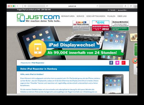 Webseite Justcom.de