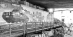 Black & White picture of wall covered with graffiti art and Black & White of a typical Beer of Hamburg - Argentinienbrücke Hamburg - Argentienbrücke Hamburg