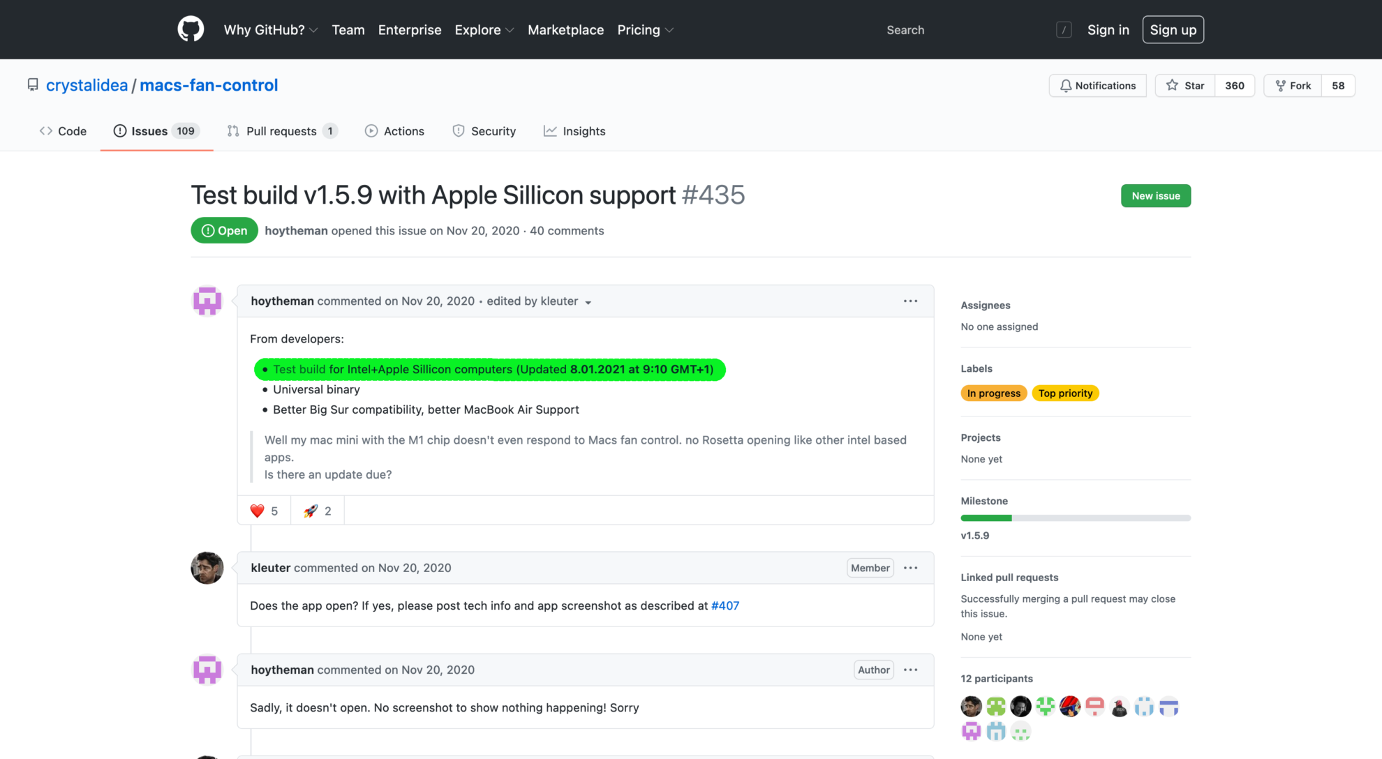"""Github Screenshot aus dem Thread """"Test build v1.5.9 with Apple Sillicon support"""""""