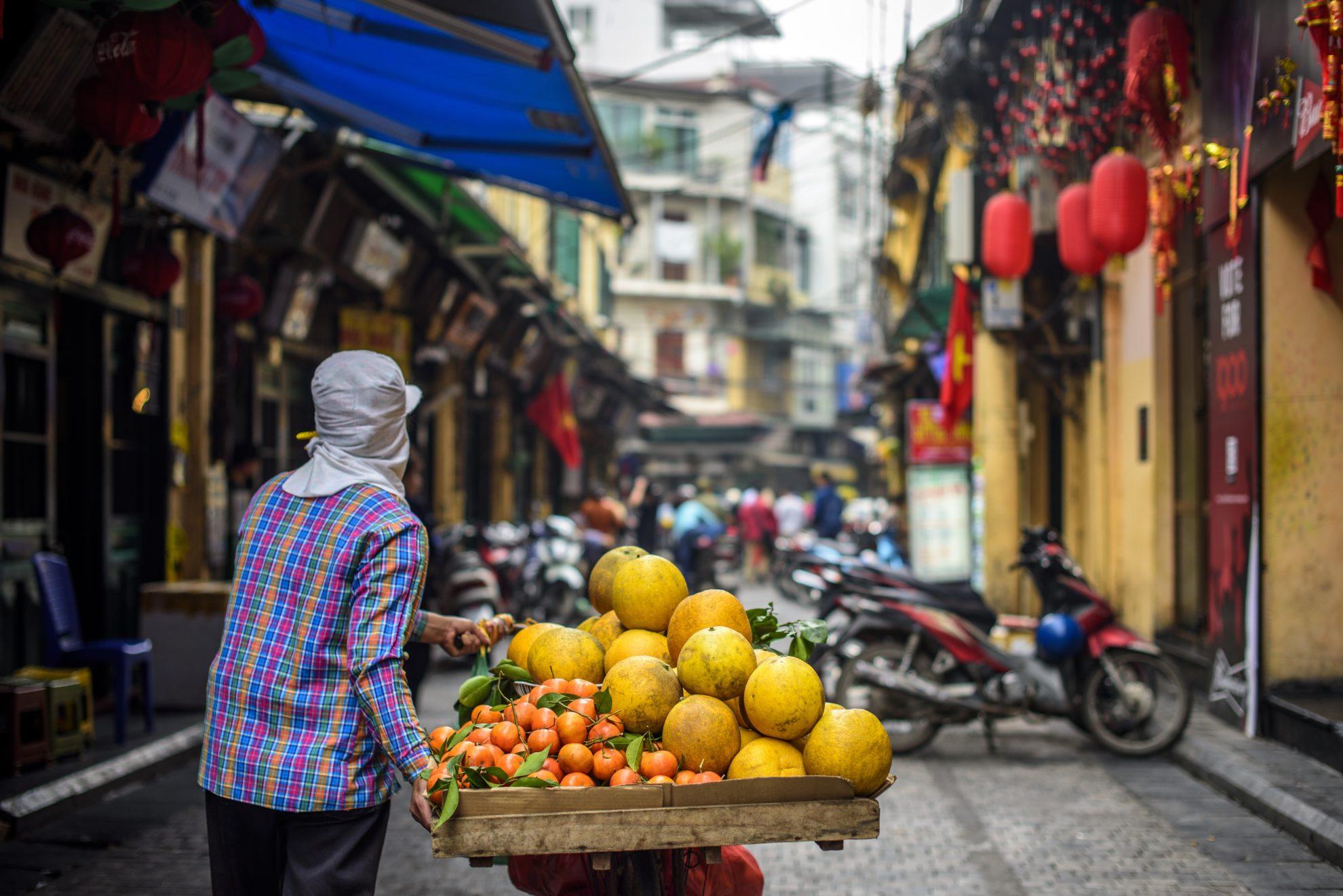Mandarinen auf dem Markt von Hanoi