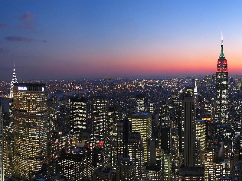 New Yorks Skyline bei Nacht