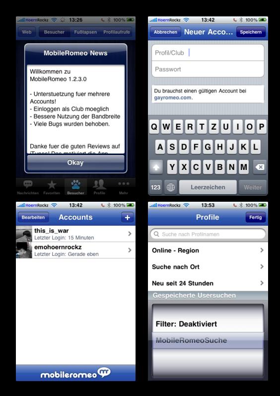 Neues in MobileRomeo 1.2.2 und 1.2.3 in einem Bild