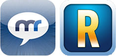 Links das MobileRomeo-Logo, rechts das neue PlanetRomeo – date & chat for gay men - PlanetRomeo BV-Logo