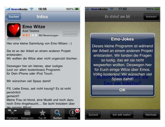 Beschreibung der App im iTunes AppStore und in der App selbst