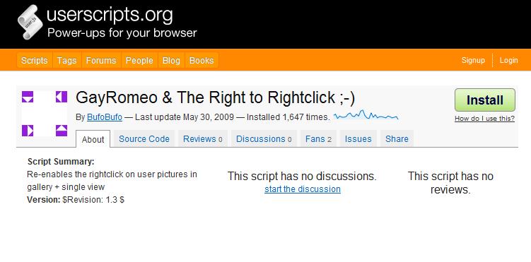 Ein  Greasemonkey-Script installieren, hier GayRomeo & The Right to  Rightclick
