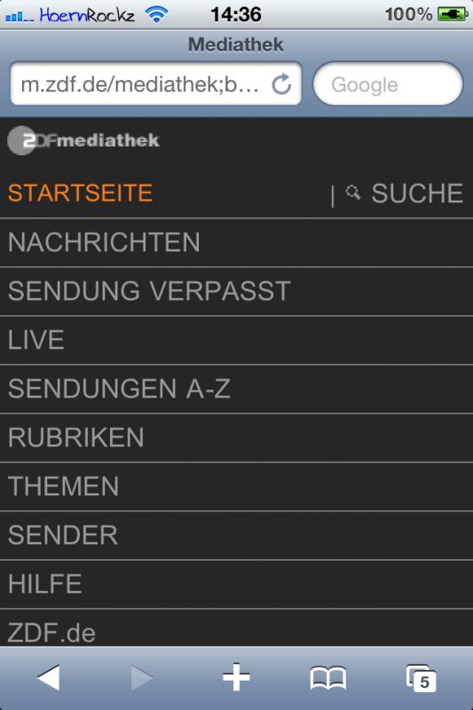 ZDF Mediathek-Startseite